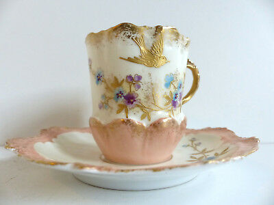 SUPERB & RARE ANTIQUE FRENCH LIMOGES HANDPAINTED CUP & SAUCER GOLD w. BIRD