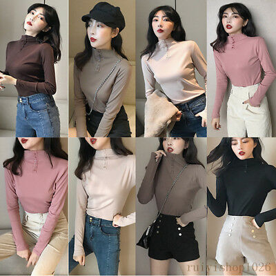 Winter Women Warm Fleece Lined Mock Neck Long Sleeve Stretch Thermal Thick Shirt