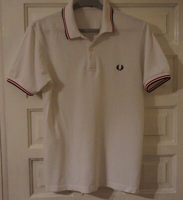 Mens M / S RARE Fred Perry  -The Ordinary Boys - White Polo T Shirt 38 Chest