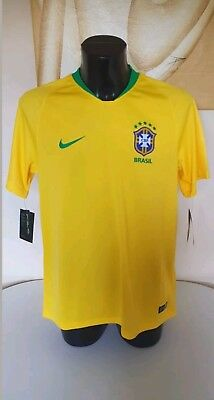b969bbd30 NEW Nike Brazil 2018 2019 SS Home World Cup Football Shirt Top Jersey Mens  Large
