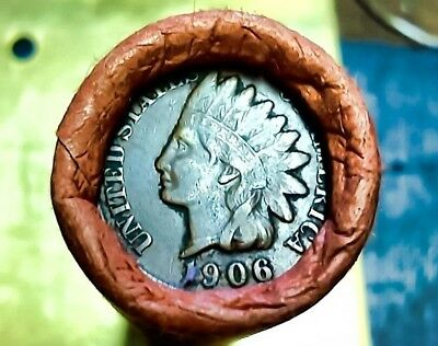 1906/1888 Indian Head/wheat Penny Cent Shotgun Roll From Estate B23