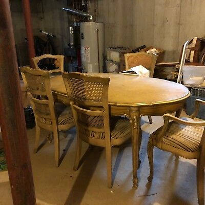Vintage French Provincial Dining Table, Chairs and side board