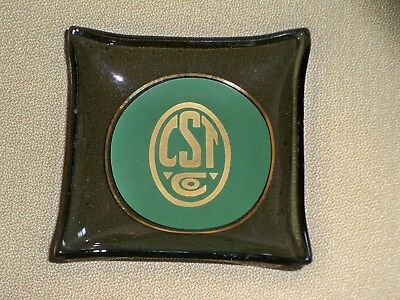 CST Co. Chicago Steel Tape Advertising Smoked Glass Tray Dish Vintage