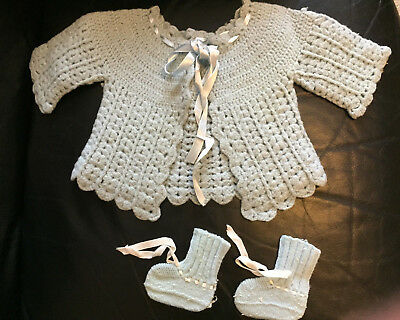 Vintage 1950's Infant Crochet Sweater and Booties
