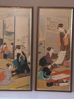 vintage Japanese wood block matching pair of Framed Prints