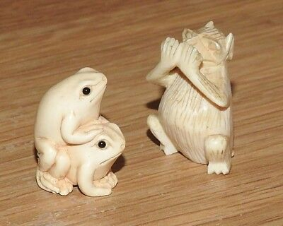 Japanese Inro, bone frog sitting on another frog, and a bone animal Two Inro,s