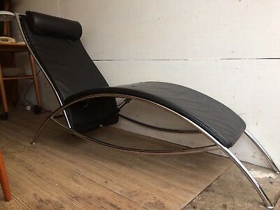 Pieff Vintage Style Black Leather and Chrome Lounger Chair Reclining Sofa Retro