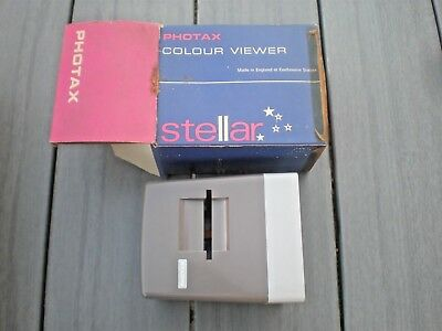 Vintage Photax Stellar Colour Slide Viewer 1 Lens Magnification In Original Box
