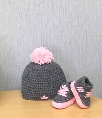 Handmade Baby Crochet Trainers And Hat,first Shoes,laces,baby Pink Grey