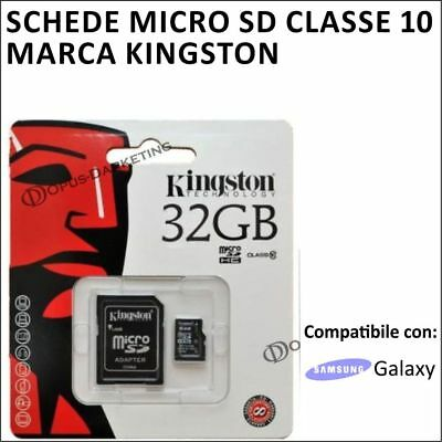 SCHEDA MEMORIA MICRO SD CARD KINGSTON 32GB CLASSE 10 SAMSUNG GALAXY serie S J A