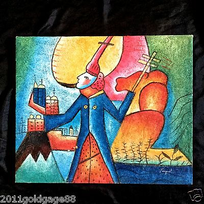 Vintage Abstract Oil Painting 'crusader' Created In 1980-1990S Signed.