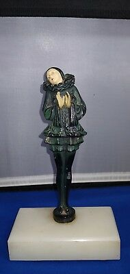 Rare Spelter & Onyx Art Deco Harlequin Pixie Pierrot Statue Book End Figure 9""