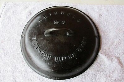 Vintage Griswold No. 9 Tite-Top Dutch Oven 2552B Lid Only - Pat 1920
