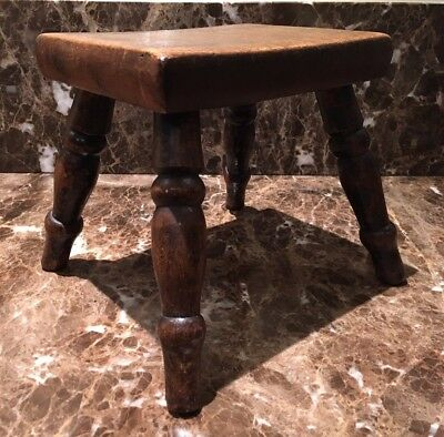 Antique Victorian wooden dairy milking stool footstool great patina