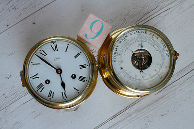 West German Schatz Royal Mariner Brass Ships Clock and Barometer - NO RESERVE