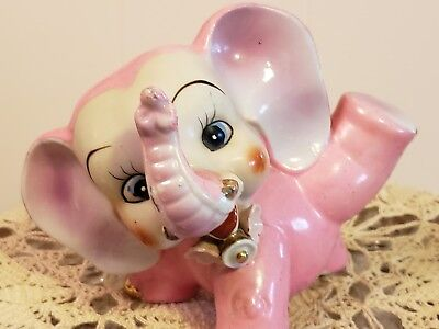 Vtg Pink Elephant Figurine ~ Japan~Bell/Flowers~ Big Eyes~ Ceramic ~Lucky Trunk