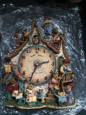 Boyds Bears Danbury Mint Collector Clock Hang On Wall Battery Operated Tree