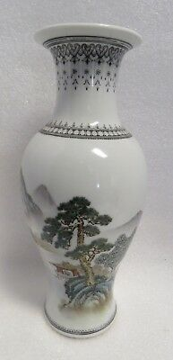 Vintage Republic Period Hand Painted Detailed Chinese Porcelain Baluster Vase.