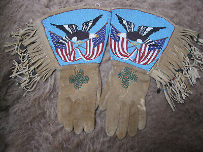 Plateau Fringed Gauntlets with US Flags