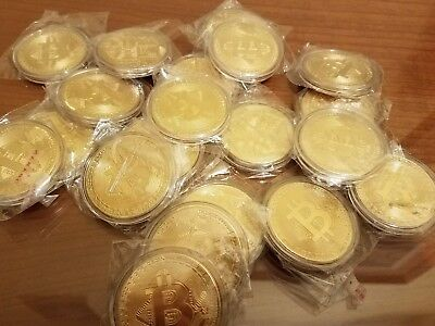 5 Bitcoin Gold Plated Commemorative Coins - Protective Acrylic Case US