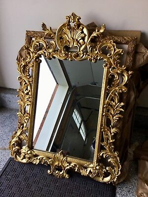"""VTG  LaBarge Italian Rococo Mirror Gold Gilt Carved Wood MADE IN ITALY,34"""" x 48"""""""