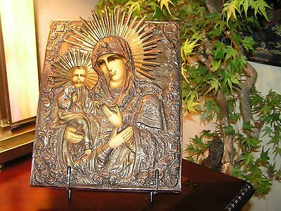 Antique Russian Orthodox Icon - 3-handed Virgin Mary with Baby Jesus (12 x 9)