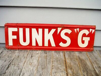 VINTAGE FUNK'S G SEED CORN SIGN SPINNER NEAT! DOUBLE SIDED pioneer dekalb