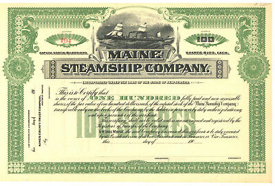 Maine Steamship Company. Stock Certificate.