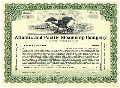 Atlantic and Pacific Steamship Company. Stock Certificate. Maine