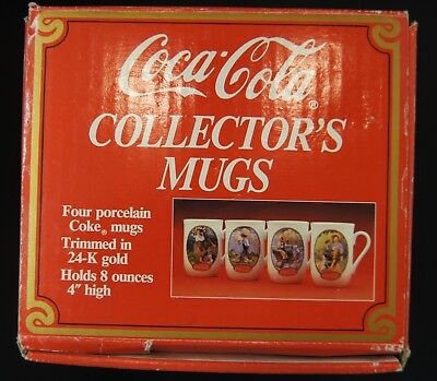 Vintage Coca-Cola Norman Rockwell Mugs & N.C.Wyeth 1987 Museum Collection Set/4