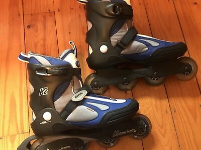 K2 Roller Blades blue and white size uk 10 only used a few times