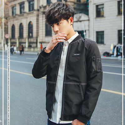 Men Jacket Coat Baseball Collar Solid Color Hong Kong Style Casual Slimming VR