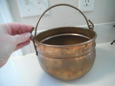 Vntg Copper Hanging Pot Fireplace Cauldron Apple Butter Kettle Holland sticker