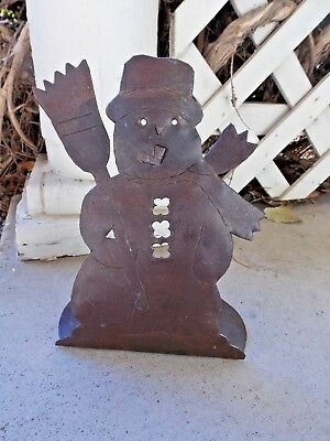 Metal Snowman Candle Holder Holiday Christmas Winter Lodge Primitive Decor