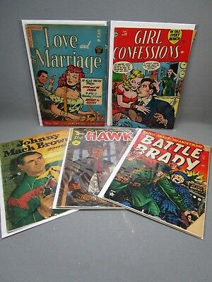 Golden Age Comic Book Lot of 5 Love and Marriage Battle Brady Johnny Mack Brown