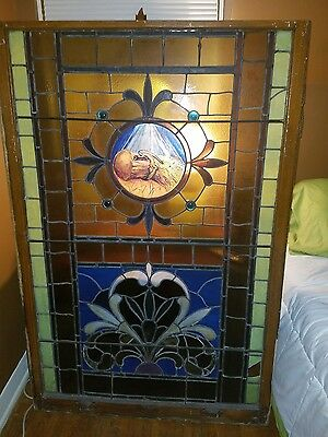 stunning ANTIQUE church stained glass window
