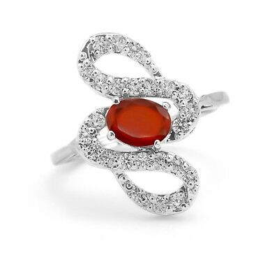 Sterling Silver Ring Orange Hessonite Garnet Natural Size 4 5 6 7 8 9 10 11