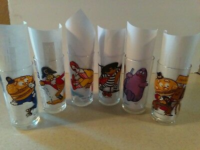 Mcdonalds 1977 Action Series 12 Oz. Drinking Glasses Complete Set Of 6 Different