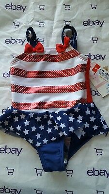 Baby Girl 6-9 months Small Wonders Swimsuit UPF +50 4th july red white blue 6 9