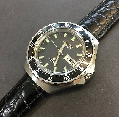 Vintage Orient LM 5691-6056-012 Quartz Watch, Stainless Steel,100M,New Old Stock