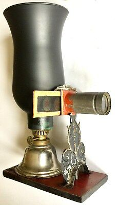 ANTIQUE 1800's MAGIC LANTERN PROJECTOR WITH 19 COLORFUL CHILDRENS GLASS SLIDES