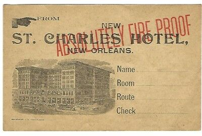 1900s New St. Charles Hotel luggage label - New Orleans, Louisiana