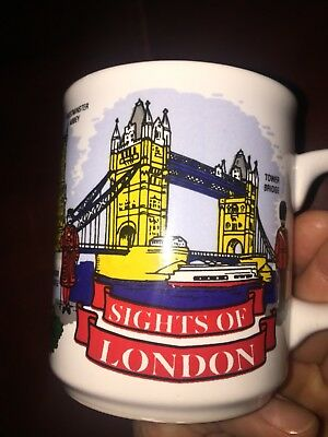 "Vintage Harrods ""London"" by Wren fine bone china coffee mug cup made in England"