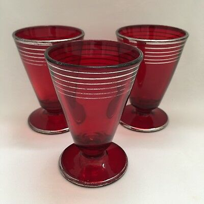 Nice (3) Ruby Red Wine Cordial Shot Glasses with Silver Band Trims