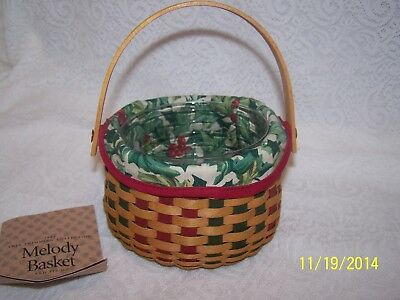LONGABERGER AMERICAN  HOLLY LINER ONLY for tree trimming 2003 MELODY BASKET NIB