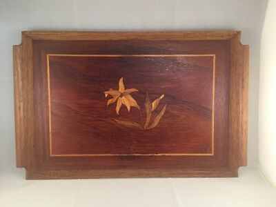 Vintage Hand Crafted Inlaid Wooden Tray With Flowers