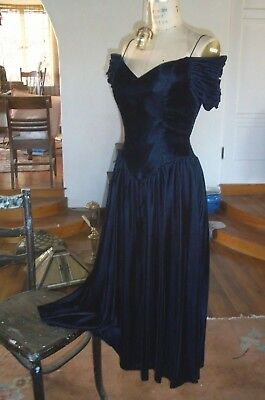 Royal Blue Velvet Sweetheart Dress Karen Stevens A+++