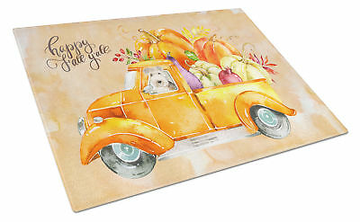 Fall Harvest Lakeland Terrier Glass Cutting Board Large