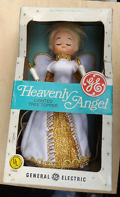Vintage 1960's GE Heavenly Angel Christmas Lighted Tree Topper in Original Box