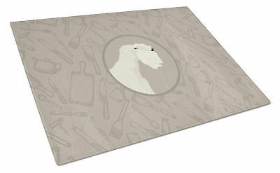 Sealyham Terrier In the Kitchen Glass Cutting Board Large
